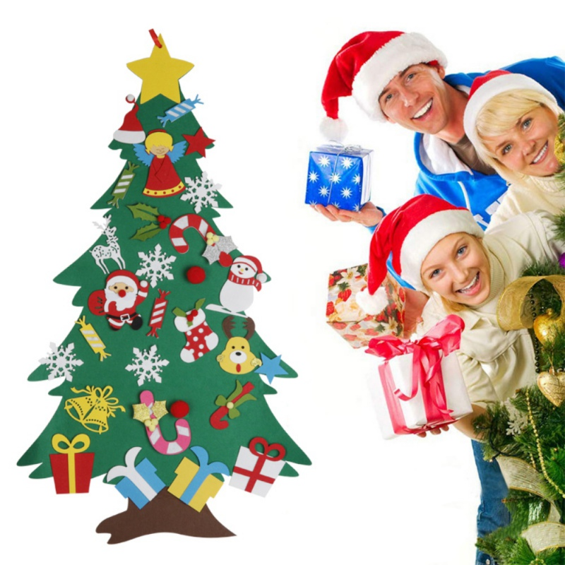 DIY Felt Christmas Tree Gifts Kids Toys New Year  Festival Supplies Home Ornaments