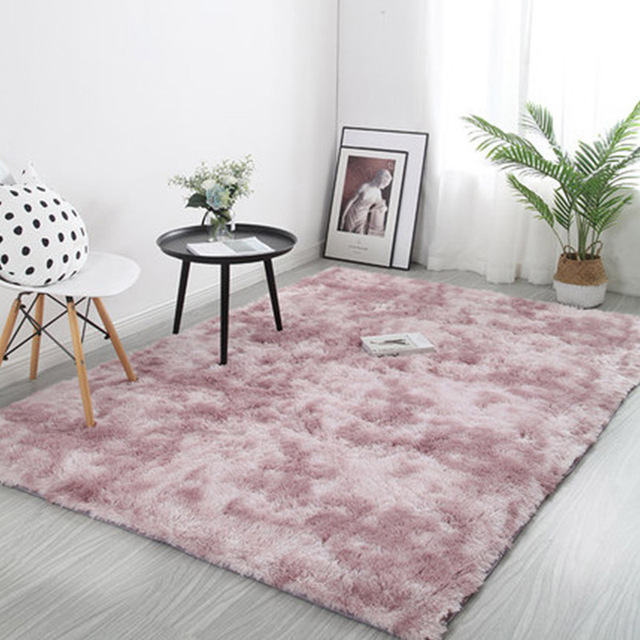 Pink Thick Plush Carpet for Living Room Fluffy Rug Bed Room Carpets Anti-slip Floor Soft Rugs Tie Dyeing Carpets Kids Room Mat 1