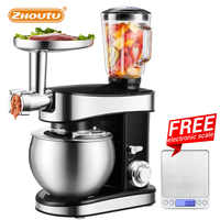Zhoutu 5.5L Planetary Mixer,Electric Stand Mixer with Stainless Steel Bowl,Chopper Blender Cream Cake Bread Food Mixer 1500W