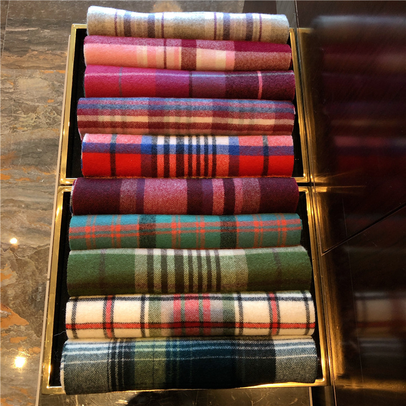 Wool Cashmere Plaid Scarves Spot British Edinburgh Scotland Men Women Autumn Winter Silk Scarves Long