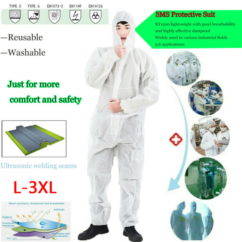 Reusable and Full Body Coverall Medical Protective Clothing for Protection from Viruses and Bacteria 3