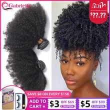 Gabrielle mongol afro kinky encaracolado feixes de cabelo 8 20 polegada 100% feixes de cabelo humano 3/4 pçs cabelo remy tece cabelo curto encaracolado
