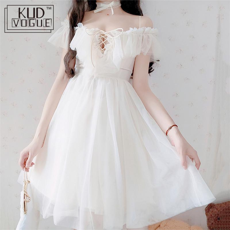 Summer Dress Adult Sexy Off-the-shoulder White Dress Women Chiffon Sweet Lolita Lace Dress For Girl Sweet Lolita Cosplay Costume