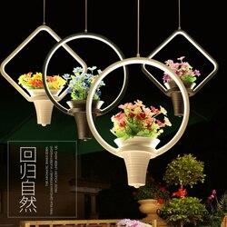 Moderne eenvoudige en creatieve bloemen en planten kroonluchter Restaurant Bar balkon decoratie led groene plant Kroonluchter Hanglampen    -