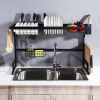 65CM/85CM Over The Sink Stainless Steel Kitchen Rack Dish Bowl Drain Drying Shelf Storage Organizer Holder With 4 Hooks