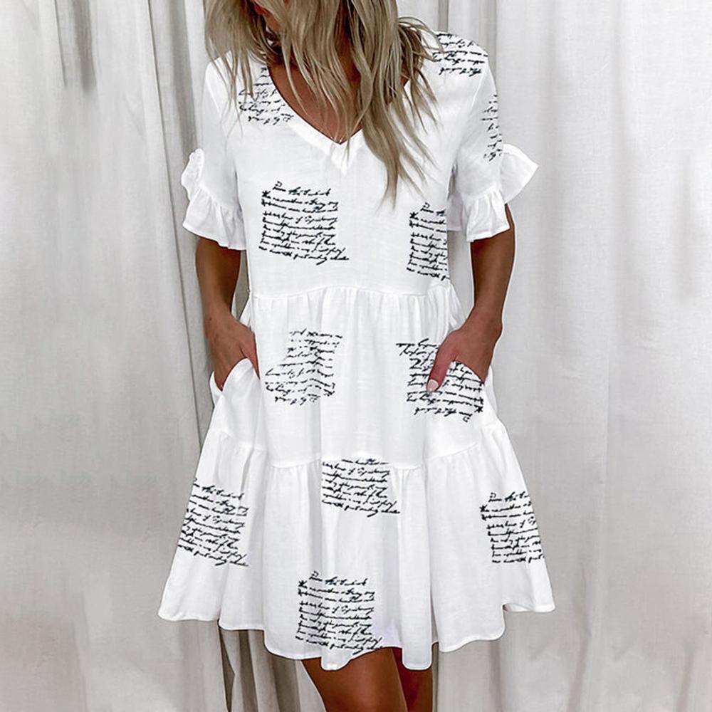 Casual Ruffles Loose V Neck Dress Women Summer Short Sleeve Floral Print Woman Dress Plus Size 2021 Fashion White Beach Dresses