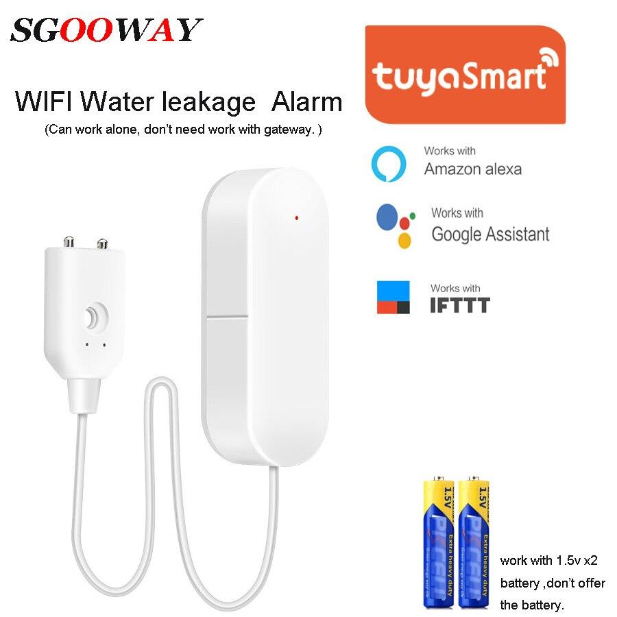 Sgooway Tuya Smart Wifi Controlled Water Leak Sensor Detector Alarm  Compatible With Alexa Google Home IFTTT