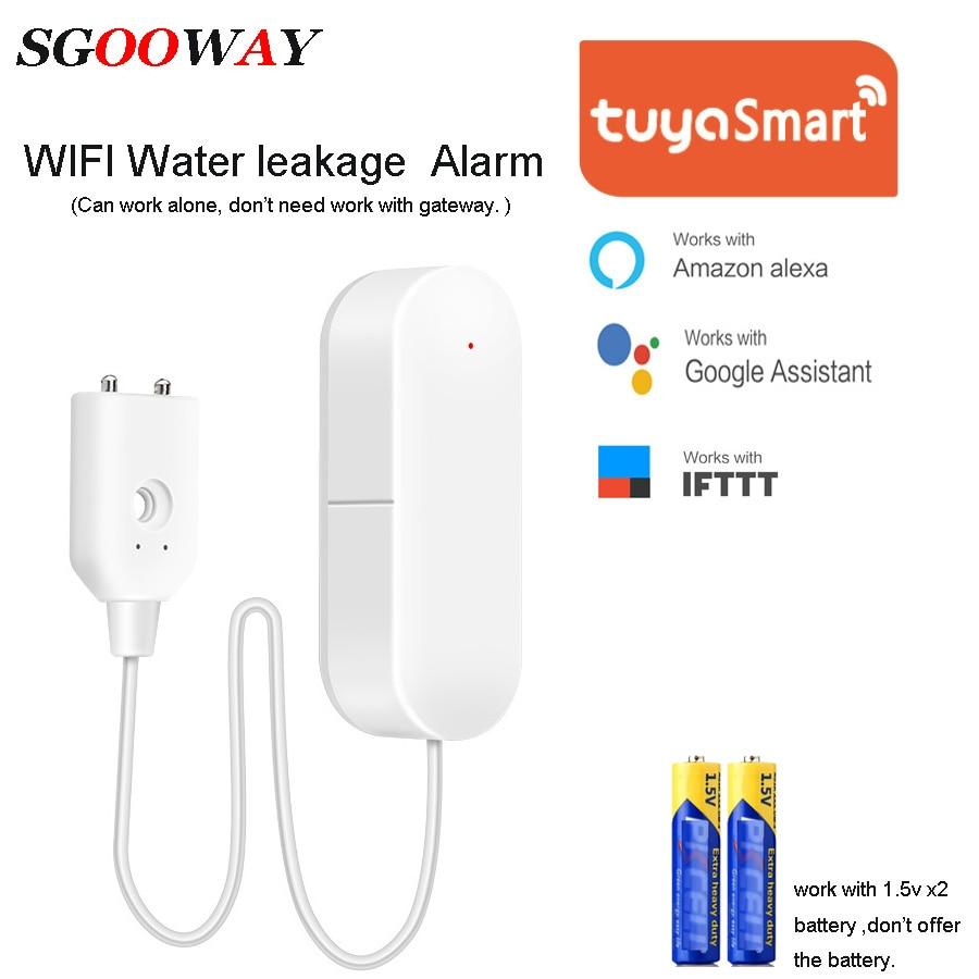 Sgooway tuya inteligente wifi sensor de vazamento água detector alarme compatível com vida inteligente ifttt