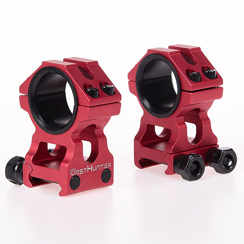 Red High Profile Picatinny Scope Rings 25.4mm/30mm Dual Rings CNC Machining High Quality Weaver Scope Mounts Hunting Accessories