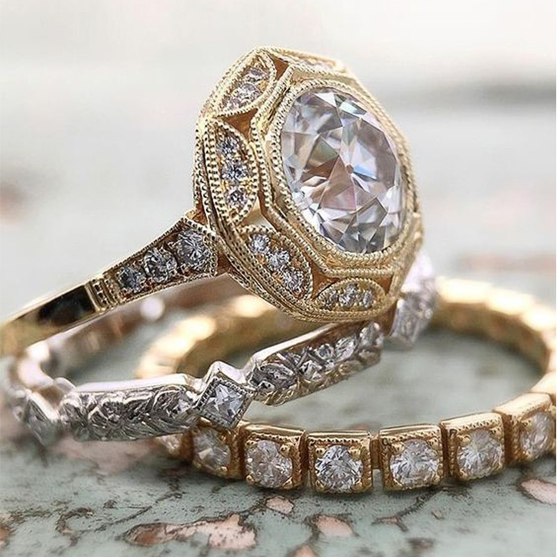 Винтажные 3-в-1 кольцо комплекты 925 стерлингового серебра драгоценности AAAAA cz массивные вечерние свадебные кольца для женщин из атласа, модно...