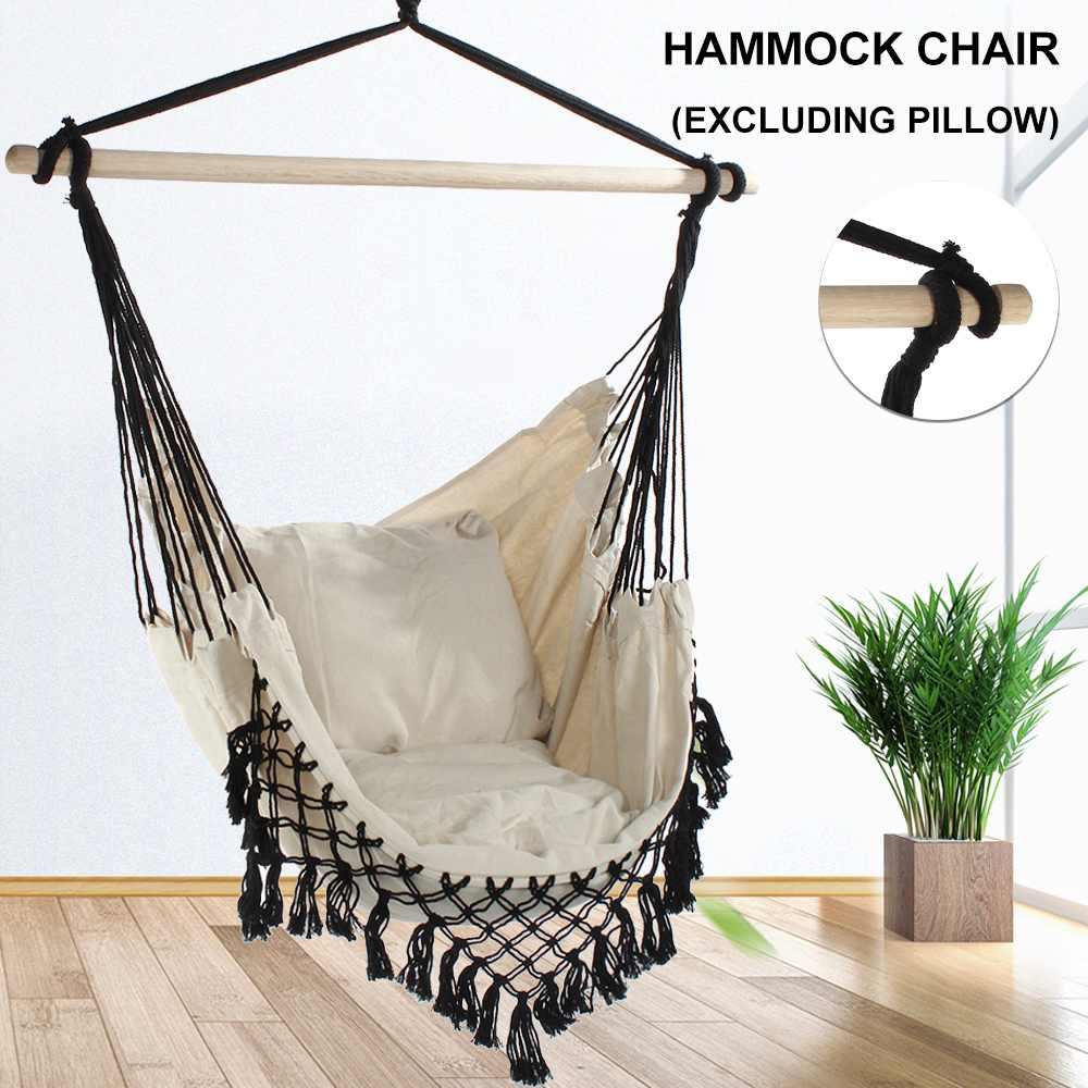 Outdoor Bohemia style Home Garden Hanging Hammock Chair Indoor Dormitory Balcony Swing Hanging Chair with Wooden Stand