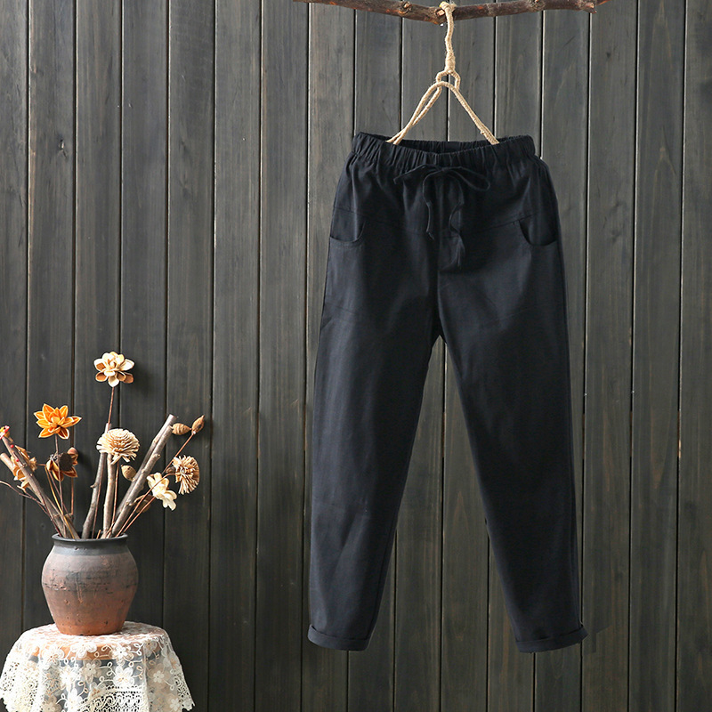8949 # Photo Shoot Cotton Linen Drawstring Elastic Waist Cotton Linen Harem Pants Capri Pants Women's