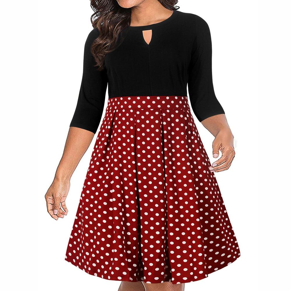 US $18.59 49% OFF|9XL Polka Dot Print Vintage Dress Women Plus Size 50s  Rockabilly Robe Autumn A Line Party Dress Femme Vestidos Retro Dresses on  ...