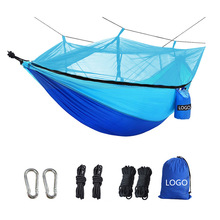 Portable Outdoor Camping Hammock with Mosquito Net High Strength Parachute Fabric Hanging Bed Hunting Sleeping Swing