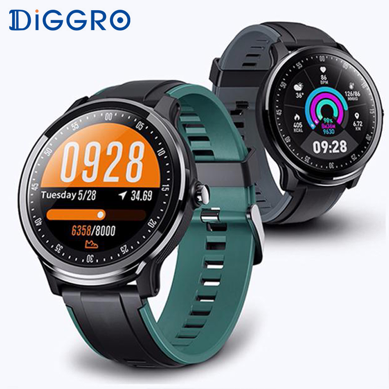 Diggro SN80 Smart Watch IP68 Waterproof Blood Oxygen 1.3 Inch Round Screen Full Touch Men Sport Smartwatch For Android IOS