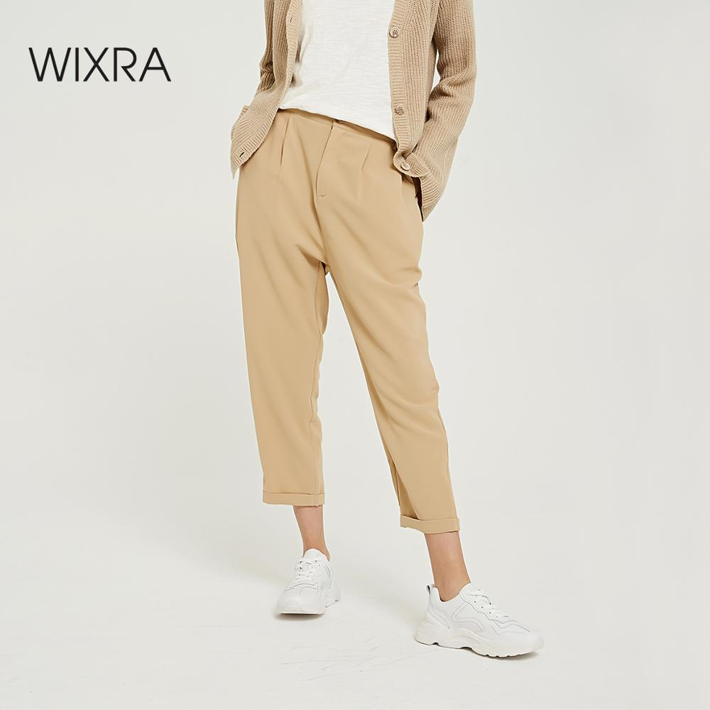 Wixra 2019 New Solid Casual Women's Pants High Elastic Waist Straight Long Trousers Spring Autumn Ladies Bottom