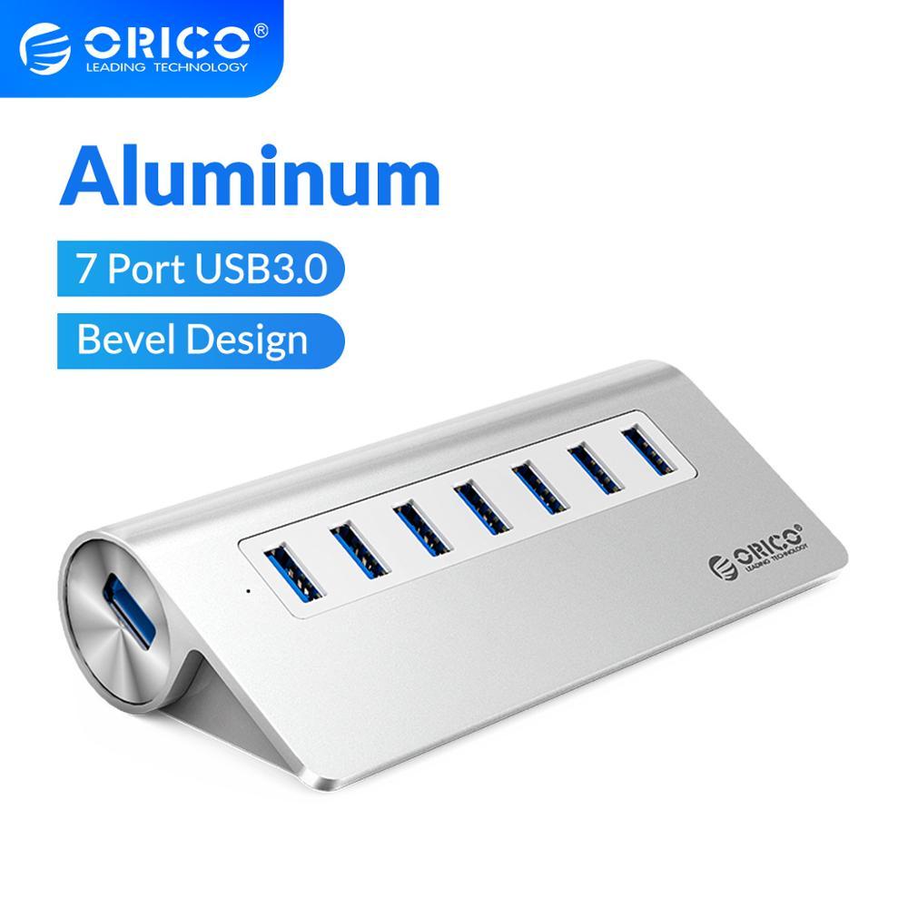 Алюминиевый Конический Концентратор ORICO, 7 портов, USB 3,0, высокоскоростной разветвитель с адаптером питания 12 В для ПК, Macbook, компьютерные аксессуары|hub brake|hub rs232hub movie | АлиЭкспресс