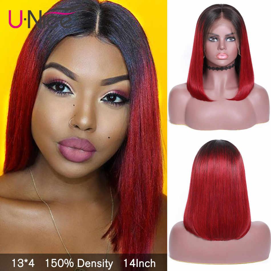 Unice Haar 13x 4/6 Korte Ombre Bungundy Bob Pruik Pre Geplukt Lace Front Menselijk Haar Pruiken Braziliaanse Remy Haar Bob blonde Lacewig