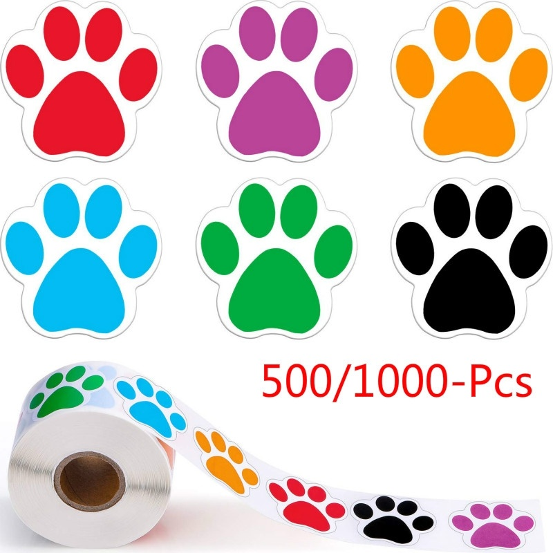 500Pcs 6 Colors Dog Paw Labels Stickers Paw Print Stickers Scrapbooking For Kids Party Activity Favors Stationery Sticker