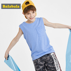 Balabala Boys vest children 2020 summer wear cotton sleeveless round neck sports shirt vest personality fashion(China)