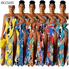 Backless Strapless Dress Floral Print Bohemian Maxi Dresses Long Side Split Cut Out Tube Retro Slash Neck Fit And Flare Vestidos