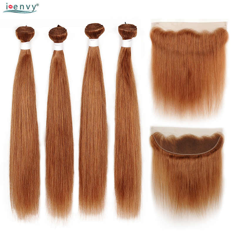 #30 Preuvian Straight Bundles With Frontal Gold Ginger Blonde Bundles With 13*4 Lace Closure Human Hair Colored Bundle Non Remy