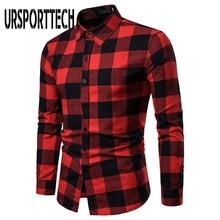 Ursporttech赤黒のチェック柄シャツ男性春の秋のカジュアル長袖シャツスリムフィットソフトで快適な男性のシャツ