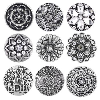 1pcs Newest Styles Anti-silver Snaps Mix Pack 18mm GingerSnaps Snap button Charms Snap Jewelry VN-1978 image