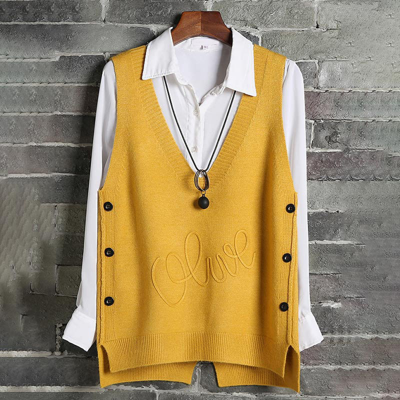 Woman Short Sleeveless Knitted Sweater Vest Waistcoat Side Buttons Casual Vest Female Pullover Plus Size Fashion Spring Lady Top