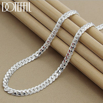 DOTEFFIL 925 Sterling Silver 6mm Full Sideways Necklace 18/20/24 Inch Chain For Woman Men Fashion Wedding Engagement Jewelry