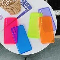 Funda de teléfono para Xiaomi fluorescente neón 9 10 8 Pro Redmi Note 7 8 9 9S K20 K30 CC9 Pro, funda trasera suave de TPU, Color caramelo