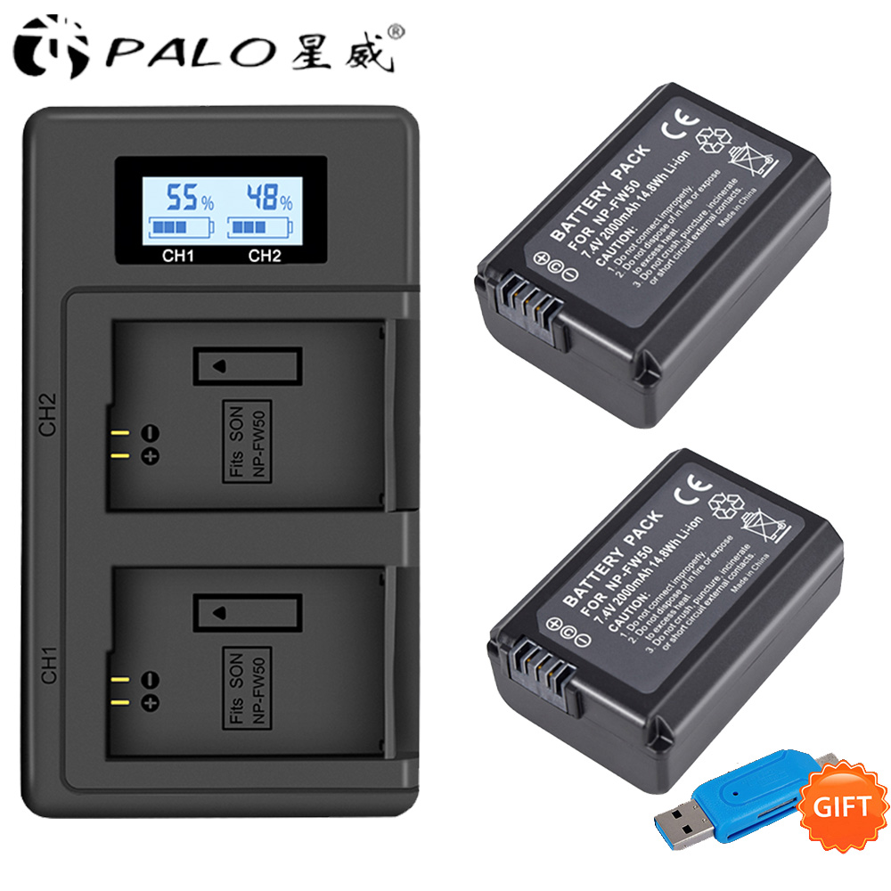 2pcs NP-FW50 NP FW50 Camera Battery +LCD digital camera battery Charger for <font><b>Sony</b></font> <font><b>Alpha</b></font> a6500 a6300 a6000 <font><b>a5000</b></font> a3000 NEX-3 a7R image