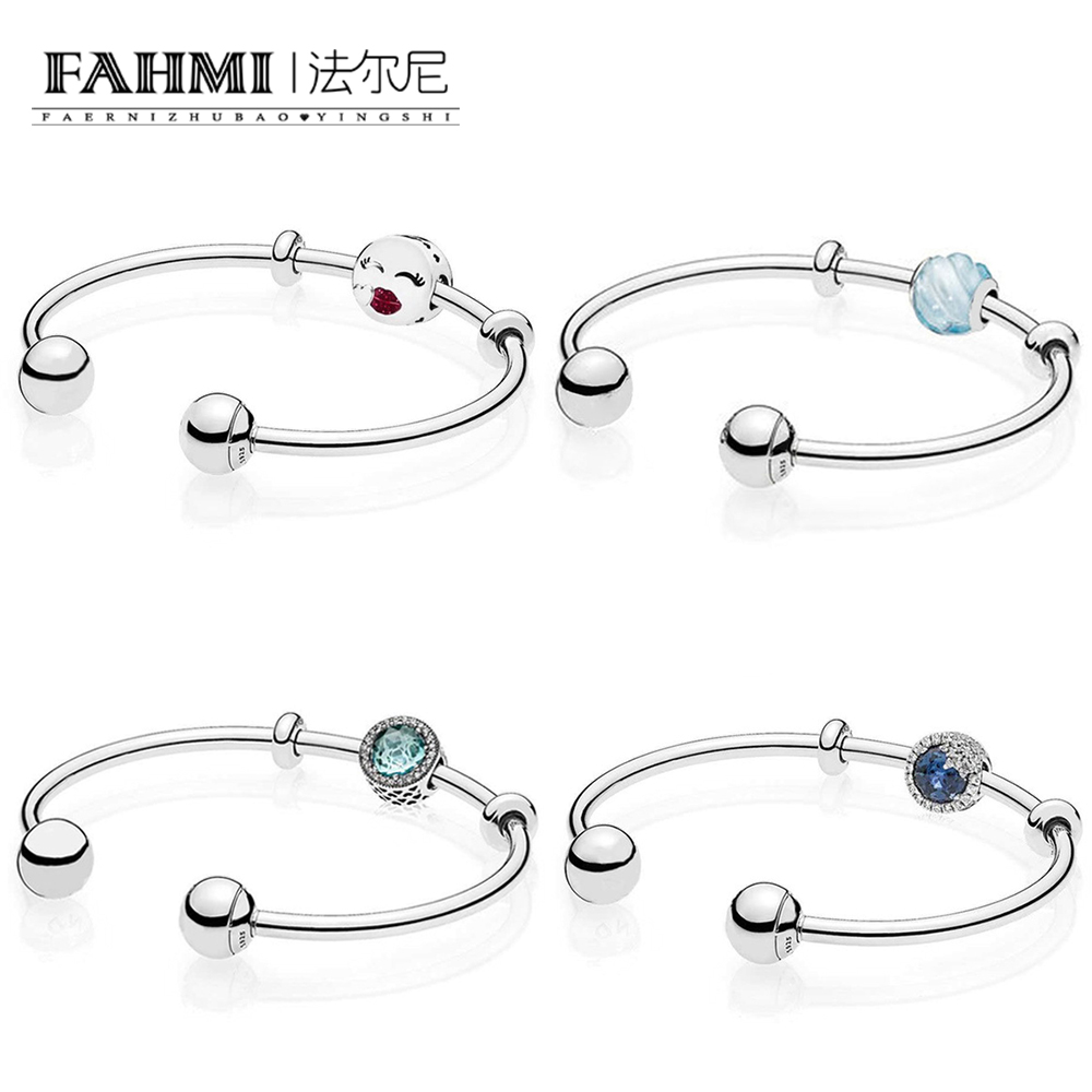 FAHMI 100% 925 Sterling Silver 1:1 BLUE RIPPLES Radiant Hearts DAZZLING SNOWFLAKE KISS CHARM MOMENTS SILVER OPEN BANGLE Gift Set
