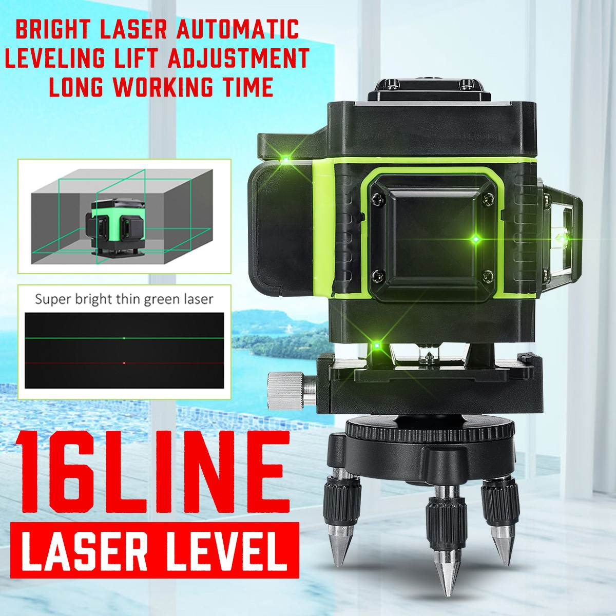 16 Lines Laser Level 12 Lines 3D Self-Leveling 360 Horizontal And Vertical Cross Super Powerful Green Laser Beam Line + Tripod
