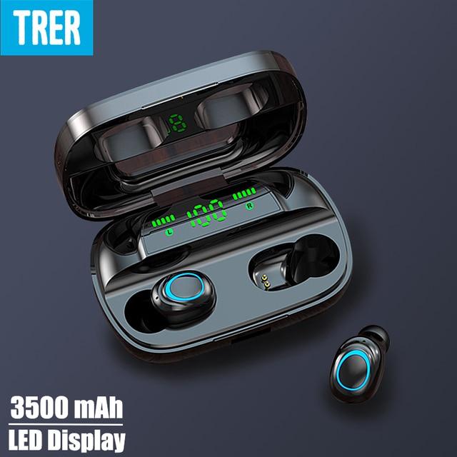Trer fones de ouvido fone de ouvido tws 5.0 bluetooth fone de ouvido led display digital fone de ouvido dinâmico baixo som ecouteur auriculares cuffie