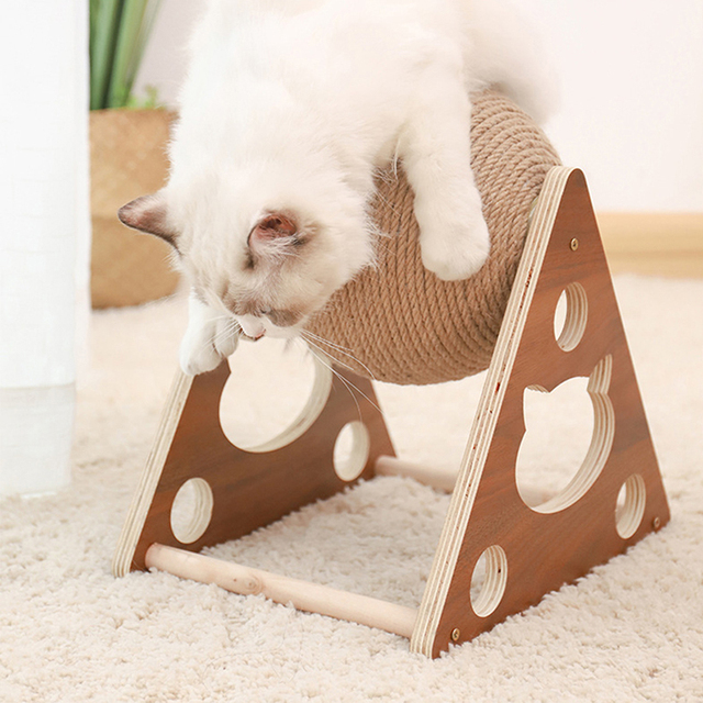 Cat Scratcher Sisal Rope Ball Cat Scratching Post Wood Stand Anti-Scratch Toy For Cats 6
