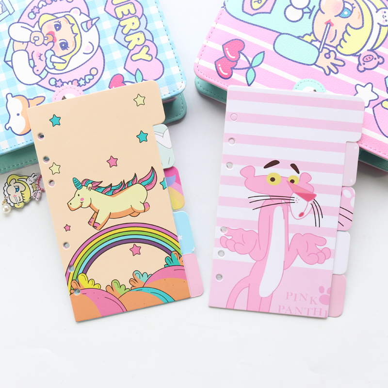Domikee Cute Paper Index Dividers For Diary 6 Rings Binder Planner Cartoon Spiral Notebooks Accessories Stationery 5sheets A6