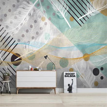 Milofi3D Nordic modern minimalist abstract geometric feather wallpaper mural TV background wall(China)