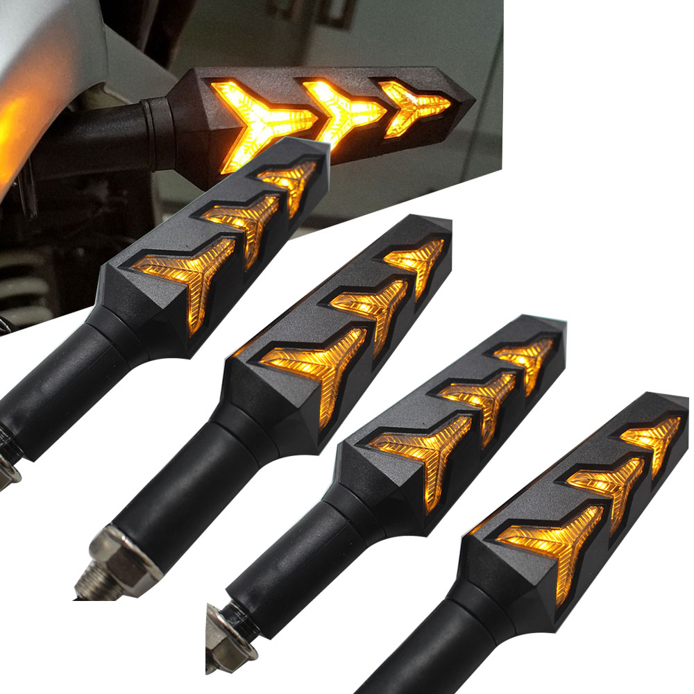 4 adet motosiklet LED dönüş sinyalleri akan su flaşör yanıp sönen ışıklar dahili röle bükülebilir oto kuyruk flaşör gösterge lambası title=