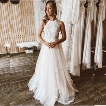 Wedding-Dress Boho Bridal-Gowns Robe-De-Mariee Court-Train Tulle Lace White Women Sleeveless