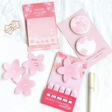 1 Pcs  Cherry Sakura Self-Adhesive N Times Memo Pad Sticky Notes Bookmark School Office Supply цена