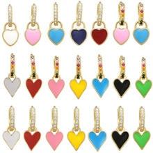 1 peça argola balançar brincos neon verde amarelo brilhante fluorescente jóias esmalte geométrico coração cz arco-íris ouro cor brinco