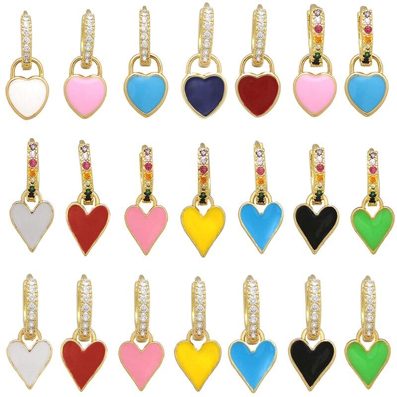 Small Hoop Dangle Earrings Neon Green Yellow Bright Fluorescent Jewelry Enamel Geometric Heart CZ Rainbow Gold Color Earring