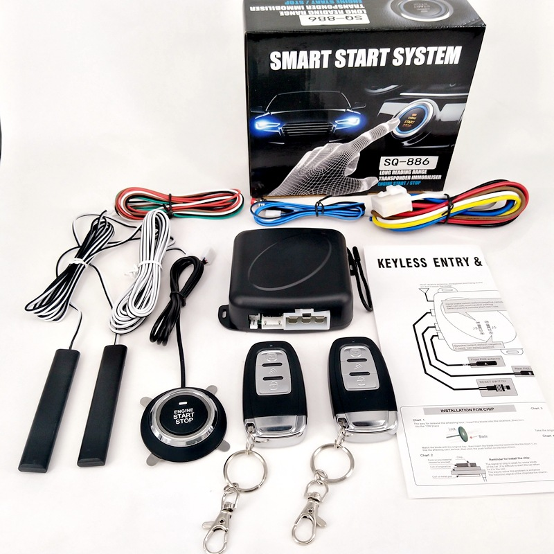 Car Alarm Passive Keyless Entry Remote Start/Stop Engine System Central Lock Car Engine Start Stop Button Automotive PKE SQ886