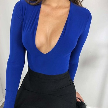 Meyoung Long Sleeve Sexy Bodysuit Women Jumpsuit Rompers Deep V Neck Body Femme Elegant Overalls Outfits Autumn Club Christmas