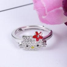 Anéis de moda para mulheres jóias 2020 coreano acessórios hello cat anel feminino micro-incrustado zircon boca ao vivo anel aberto clássico