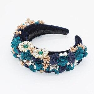 Image 5 - Éponge en strass éponge à la mode Baroque, en fleurs, bandeau sauvage, accessoires pour cheveux, tir dans la rue, pour le bal de promo, 756