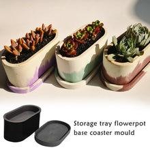 Molde de silicona ovalado para maceta de flores, molde de arcilla de silicona para hormigón, bricolaje, para maceta suculenta, fabricación de moldes de hormigón