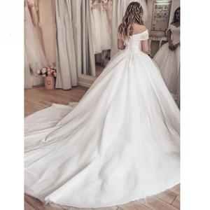 Image 2 - Vestido Noiva 2020 Sparkly Crystal Wedding Dress Off The Shoulder Bridal Ball Gown Luxury Brautkleid Robe de Mariage