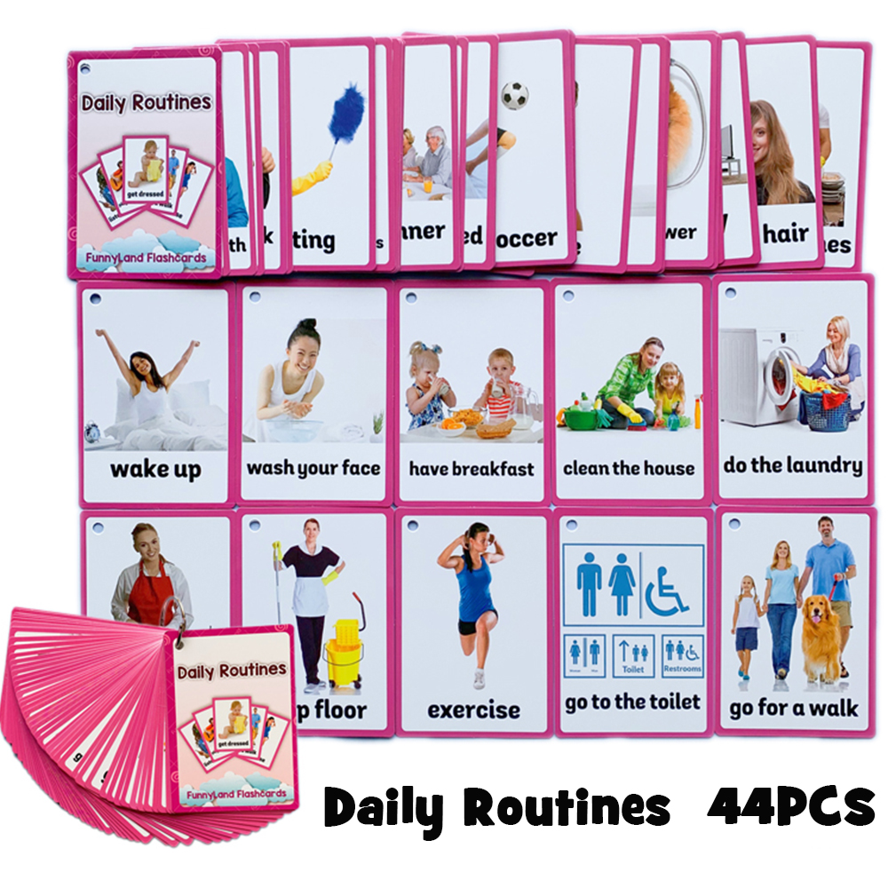 45Pcs/Set Daily Routines English Pocket Card Kids Montessori English Learning Flash Card Early Educational Toys Games Children